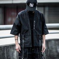 Japonaise Street Street Broderie Japan Style Style Fashion Noir Ruban Blanc Hommes Vestes et manteau Taille américaine S-XL LJ201013