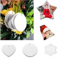 Adornos de Navidad Sublimación En blanco Cerámica Colgante Creativo Transferencia de calor Impresión DIY Ornamento de cerámica Navidad Colgante HH9-3669