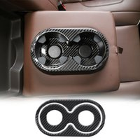 Autocollant de garniture de tasse d'accoudoir arrière de la fibre de carbone pour Chevrolet Silverado GMC Sierra 2014-2018 Accessoires d'intérieur