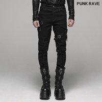 cadena de metal del punk rock de la personalidad de los hombres pantalones de lápiz de manera hermoso cinturón casual diario a largo negro Pantalones PUNK RAVE WK-388XCM Y1113