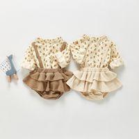 Ins Bebek Kız Setleri Fırfır Çiçek Baskılı Gömlek + Askı Falbala PP Şort 2 adet Bahar Yenidoğan Bebek Çocuk Giysileri A5384