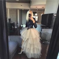 패션 안녕하세요 저 계층 얇은 얇은 얇은 얇은 구슬 치마 여성 프릴 여분의 푹신한 지퍼 허리 라인 긴 파티 스커트 맞춤 제작 201111
