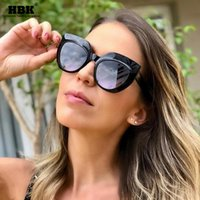 HBK Damen Retro Cat Eye Sunglasses 2020 Frauen Neue Cateye Sonnenbrille Square Große Rahmen Männer Doppel Farbe UV400 Oculo