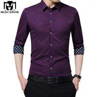 Miacawor New Men Camicia Slim Fit Abito a maniche lunghe Camicie Stampa Manica Camiseta Masculina Chemise Homme Plus Size C3731