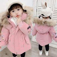 أسفل معطف الطفل الشتاء الفتيات الفراء مقنع خندق معاطف الدافئة ملابس الأطفال أطفال فتاة Winterjas 2021 الصوف سترة سترة 2 3 4 5 6 7