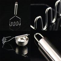 Длинная ручка пресс-дробилка висит из нержавеющей стали картофель Masher Silver легко использовать фрукты легкий нести практический 3 5AM CC