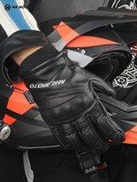 MRMOTO Kış erkek su geçirmez sonbahar geçirmez deri motosiklet sürme eldiven binici ekstra kalın
