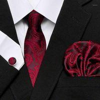 Corbatas del cuello Men`s Tie'S 100% Seda Red Plaid Print Jacquard tejido + Hanky Gemelos Conjuntos para Bodas formales Partido de negocios Free Postage1