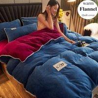 Conjuntos de cama Wostar Inverno Quente Sólido Flanela Cobertura de Quilt e Fronha Super Soft Cozy Adulto Kids King Size Conjunto de Luxo Home Têxtil