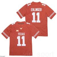 Мужчины Texas Longhorns Football 11 Sam Ehlinger College Jersey Team Color Orange Все сшитые дышащий университет Чистый хлопок высокое качество