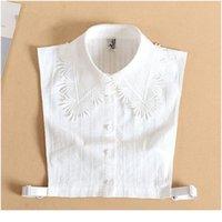 أنيقة الرباط وهمية طوق قميص أبيض القطن وهمية طوق للنساء انفصال قميص وهمية طوق المرأة نصف قميص Qyldyo
