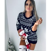 Donne maglione maglione albero di Natale a manica lunga manica lunga pullover Plus taglia 2020fw cappotti a contrasto colore a contrasto Top in maglia vendita calda