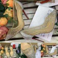 2021 أزياء المرأة الأحذية وصيفة الشرف أحذية شفافة شبكة المرأة عالية الكعب الماس رصع ملصقات أحمر أسفل مثير حفل زفاف أحذية