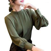 Frauen Blusen Hemden Hemden Herbst Spring Tops Frauen Mode Damen Langarm Casual Chiffon Bluse Arbeitskleidung Büro Damen Kleidung1