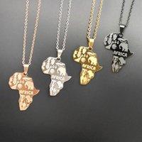 4 Couleur Afrique Carte Pendentif Collier pour femmes / Hommes Bijoux éthiopiens Cartes africaines Collier HiPhop Fournitures en gros