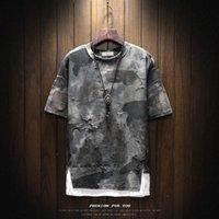 Летняя мужская футболка корейская круглая шея свободные камуфляж Ins Hip Hop Trend половина рукава поддельные две футболки большие