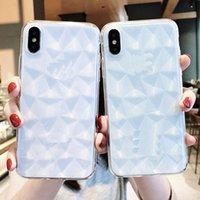 واضح TPU الهاتف يغطي 3D الماس نمط أشار الهاتف شل الحالات الكريستال شفافة لفون apple 7 8plus xr x max
