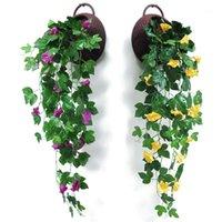1 unids flor artificial simulación flor mañana gloria vid narciso pared colgando clorófito casa pared decoración1