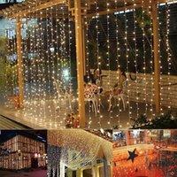 3 متر × 3 متر 300-LED الدافئة الضوء الأبيض الرومانسية عيد الميلاد الزفاف في الهواء الطلق الديكور الستار سلسلة ضوء عالية السطوع سلاسل أضواء
