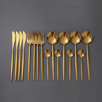 16Pcs set Gold Cutlery Set 18 10 Stainless Steel Dinner Blac...