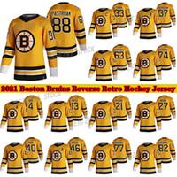 Boston Bruins 2020-21 عكس الرجعية جيرسي 88 ديفيد باسترنك 37 باتريس بيرجيرون 63 براد مارشاند 77 راي بورك 46 كراجسي الهوكي الفانيلة