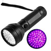 새로운 395nm 51led 자외선 자외선 손전등 LED 블랙 라이트 토치 조명 조명 램프 알루미늄 쉘 야외 캠핑 하이킹