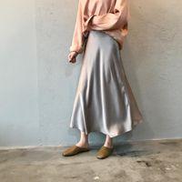 Jupe satin satin de soie d'été Vintage longue taille haute jupe midi pour femme A-Line Elegante Automne Femme Jupes de fishtail LJ201029