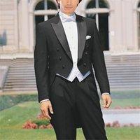 Personalizzato su misura per misurare tailcoat, su misura sposo nero smoking satinato con risvolto del picco di raso, gilet bianco, coda lunga da uomo su misura Tuxedos 201106