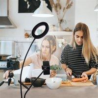 6 tums livefyllningslampor skrivbordsklippljus vit ljus USB-anslutning Dimbar Selfie Ring Vanity Light med telefonhållare Partihandel