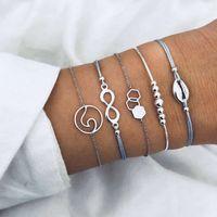 Mode einfache Persönlichkeit acht Charakter Sechseck Perle Legierung Muschel Ozeanwelle Fünf Stück Armband