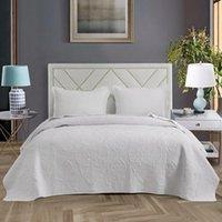 3 قطعة كاملة / ملكة أكثر من حجم 100٪٪ مبطن السرير غطاء سرير تنقش الصلبة الأبيض رمادي البني غطاء السرير مجموعة وسادة شمس