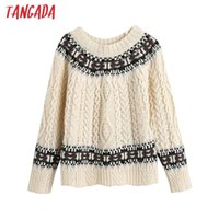 Tangada 2020 Vintage Women Beige Twist Knitted Sweater jumper O Neck Female Oversize Pullovers Chic Tops BE739