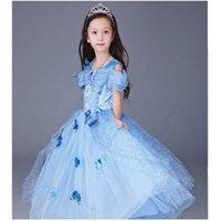 Летние дети девушки 'Cinderella с коротким рукавом принцесса бабочка тюль платье спектакль костюм одежды возраст 3 4 5 6 7 8 9 10 11 12 F1218
