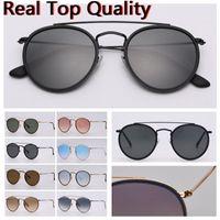 Gafas de sol para hombre 2020 Nuevos gafas de sol de diseñador Hombres gafas de sol Puente doble redondo con estuche de cuero negro o marrón, ¡y todo el paquete minorista!