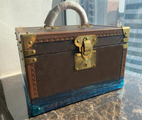 Donne classiche Lady 34 cm scatola di gioielli trucco di viaggio scatola di legno scatola di legno due strati sacchetti frizione in vera pelle kit di viaggio gioielli borsa organizzatore