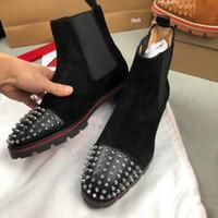 Лучшее качество мужчины красные днище ботильоны ботильоны дизайнеры из кожи кальков кожаные шипы красные днища обувь мужское платье ботинок с коробкой размером eu38-47