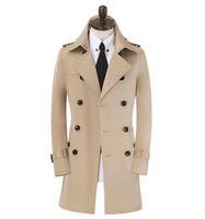 رقيقة رجل خندق معاطف البيج ربيع الخريف رجل مزدوج الصدر معطف الرجال الملابس ضئيلة معطف طويل الأكمام مصمم جديد S - 9XL