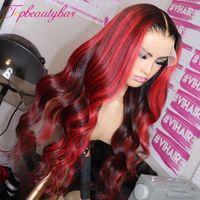 Lace frontal Destaque Humana peruca de cabelo Ombre brasileiro Red Burgundy Lace frontal Perucas Preplucked Remy ondulado Humano Perucas