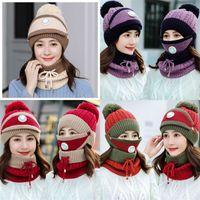 Плюшевые плюшевые вязаные шляпы теплые на открытом воздухе ветрозащитный дыхательный клапан шарф женские зимние шеи шея шансы мода горячая распродажа 14 5jj м2