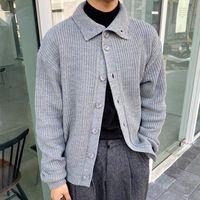 Мужские свитера дизайнеры Корейский толстый кардиган тонкий теплый теплый модный повседневный отворотный свитер пальто мужчины зимняя вязальная куртка мужская одежда M-XL