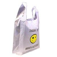 30 * 48cm Bolsas de alta calidad HDPE Supermercado amarillo encantador sonrisa chaleco blanco portador de plástico compras bolsa de mano envasado