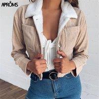 aproms 카키색 양털 트럭 재킷 여성 앞 포켓 두꺼운 따뜻한 기본 자른 코트 겨울 소프트 코듀로이 짧은 재킷 여성 LJ200813
