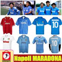 Retro Napoli Maradona Futbol Formaları 86 87 88 89 91 93 Napoli Jersey 1987 1988 Mertens Alemao Careca Maradona Hamsik Vintage Futbol Gömlek