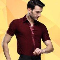 Abbigliamento da uomo in palcoscenico Abbigliamento danza latino maschile Quadrato adulto Costumi moderni per adulti che eseguono camicia da ballo a maniche corte B-42161