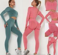 Invierno Moda diseñadora para mujer algodón yoga traje gimnasio ropa deportiva ropa deportiva fitness deportes de cuatro piezas 4pcs sostén leggings trajes primavera