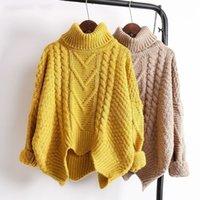 LANMREM Spring Automne 2019 Couleur Solide Vente chaude Turtleneck Pull à tricoter à manches longues Gardez Sweater chaud Femmes M41003 T200101