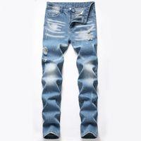 Neue Frühlingsherbst Slim Fit Blau Männer Jeans Mode Splash Tinte Desinger Herren Casual Denim Hosen Pantalones de Hombre