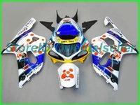 Custom Blue White AE031 Kit de justo para Suzuki GSXR 600 750 K1 2001 2002 2003 GSXR600 GSXR750 01 02 03 Motocicleta Fairings Kit