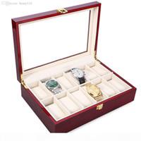 Wholesale-2018 Nouvelle boîte de montre en bois de 12 grille Boîte de boîte-cadeau transparent Boîte-cadeau Boîte à bijoux Collections Affichage de stockage