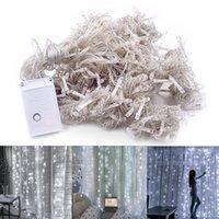 Freie Anlieferung 3 x 3 m 300-LED-Weißlicht Romantische Weihnachtshochaußendekoration Vorhang-Schnur-Licht 110V Großhandel